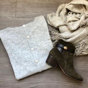 LOFT Gray Button Back Sweater
